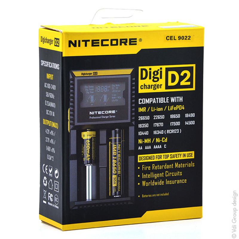 Chargeur Li-ion/Lifepo4/NiMH NITECORE D2 pour 2 accus 18650/18350/16340/26650/14500... - CEL9022